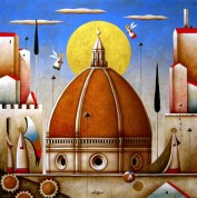 Carlo Mirabasso - Renaissance Dream - Florence, oil on board, cm 50x50
