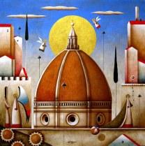 Carlo Mirabasso - Renaissance Dream - Florence, oil on board, cm 50x50