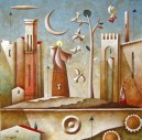 Carlo Mirabasso - San Francesco d'Assisi, oil and acrylic on board, cm 30x30