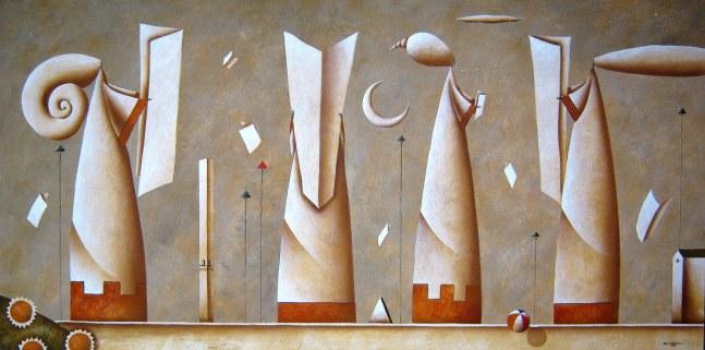 Carlo Mirabasso - The favourite readings, oil on board, cm 60 x 120
