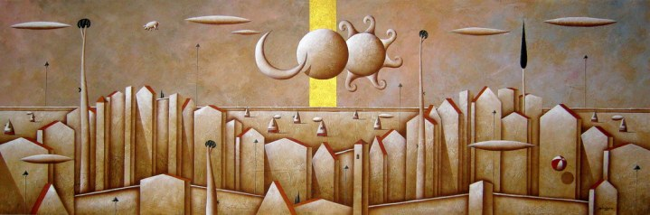 Carlo Mirabasso - The mystery of the double eclipse, oil and gold on board, cm 50x150