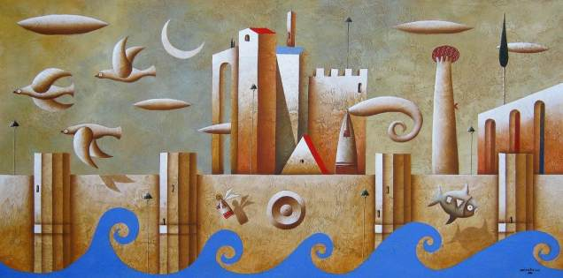 Carlo Mirabasso - The path to wisdom (The right direction), oil on board, cm 40x80