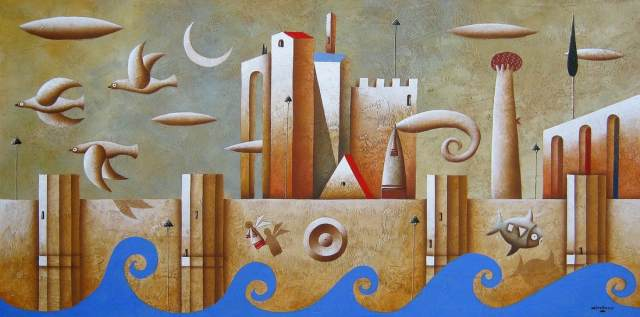 Carlo Mirabasso - The path to wisdom (The right direction), oil on board, cm 40x80