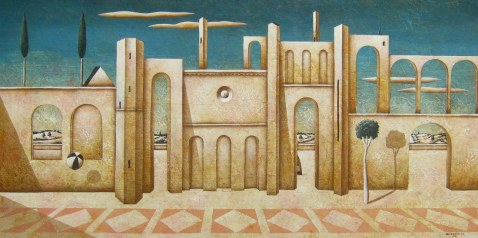Carlo Mirabasso - The return of the poet, oil on board, cm 30x60