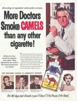 Le sigarette sono state pubblicizzate come buone per la salute, fino ai primi anni '50