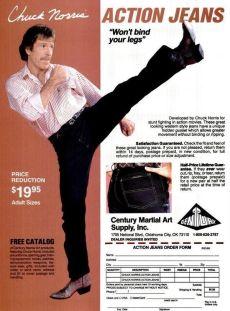 Puubblicità per Chuck Norris Action Jeans, anni '80