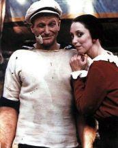 Robin Williams e Shelley Duvall sul set di 'Popeye, 1979
