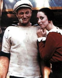 Robin Williams e Shelley Duvall sul set di 'Popeye, 1979