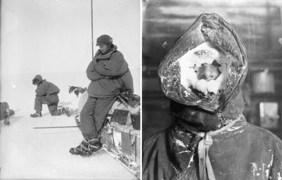 A sinistra: Mawson riposa appoggiato sulla slitta, fuori durante il primo viaggio attraverso Tierra Adelia | A destra: maschera per il ghiaccio, CT Madigan. Fotografia di Frank Hurley