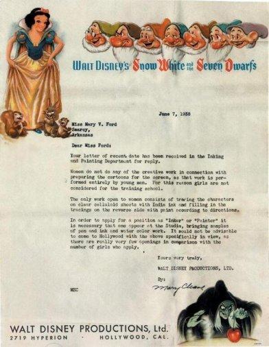 Lettera di rifiuto Disney a una donna, 1938