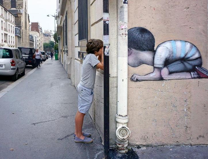 Seth Globepainter - Peek-a-boo with Jules, Butte aux cailles, Paris