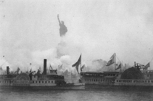 L'inaugurazione della statua della libertà nel porto di New York, 1886