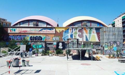 Street art in Campo de Cebada, Madrid
