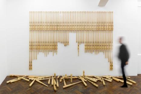 "Darío Escobar - ""Paisaje Urbano (Detroit)"" [Urban Landscape (Detroit)] (2018), serigraphed wood 115 x 152.5 x 39.5 inches. Photo credit: Gustavo Sapón, courtesy of the artist and Nils Stærk Gallery"