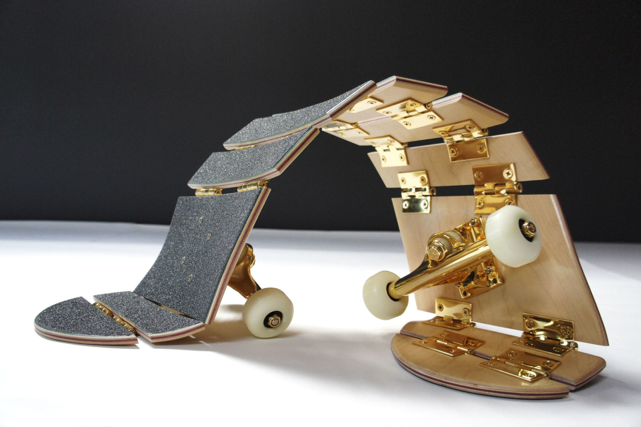 Darío Escobar - Untitled (2016), Ed. 1/4 A/P Wood, urethane, grip tape, steel, gold plating, 15.7 x 9 x 3.7 inches. Photo credit: The Lapis Press, courtesy of the artist and Nils Stærk Gallery