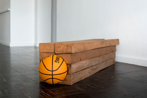 "Darío Escobar - ""Untitled No. 1"" (2015), wood, rubber, 13.6 x 53 x 12 inches. Photo credit: Gustavo Sapón, courtesy of the artist and Nils Stærk Gallery"