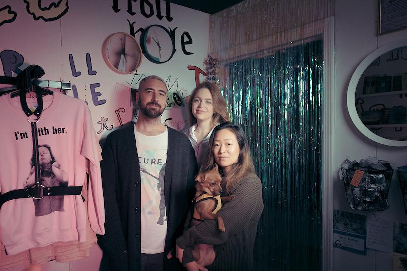 Justin Shock, Hayley Blatte, Monica Yi at Troll Hole, Bushwick, Brooklyn, 2017