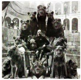 Animal Tamer Captain Jack Bonavita seduto coi suoi gatti, ca. 1903