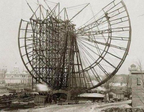 Costruzione della prima ruota panoramica per la Chicago World's Fair, 1893