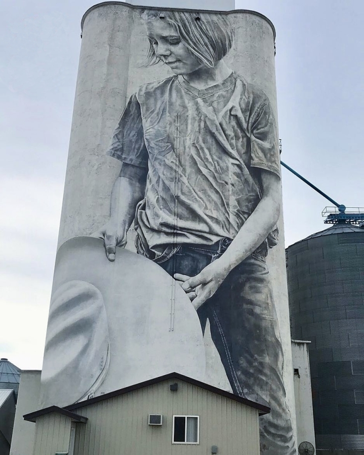 Guido van Helten @Faulkton, South Dakota, USA. Photo by FaulktonArts