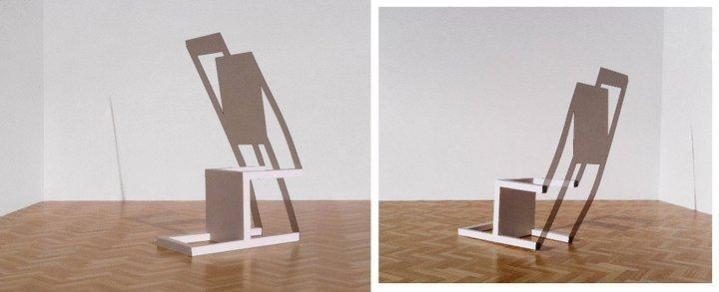Mikael Christian Strøbek - Tumbled Chair (White painted wooden chair and smoke coloured PVC plate), 2012