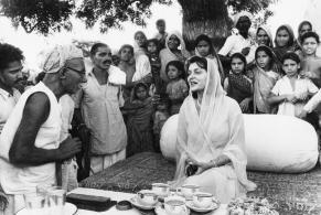 Museum number PHY.07745 T. S. Satyan, Maharani Gayatri Devi in Jaipur, 1962, H. 30.4 cm, W. 30.3 cm, Silver gelatin print