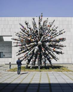 "Known for his ability to transform mundane objects into works of art, Choi Jeong Hwa sourced 7,000 unused kitchen utensils from households across Korea to create the colossal work ""Dandelion"" (now on view at Seoul's MMCA National Museum of Modern and Contemporary Art)"