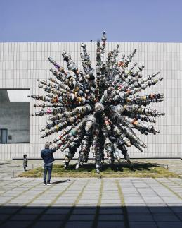 """Known for his ability to transform mundane objects into works of art, Choi Jeong Hwa sourced 7,000 unused kitchen utensils from households across Korea to create the colossal work """"Dandelion"""" (now on view at Seoul's MMCA National Museum of Modern and Contemporary Art)"""