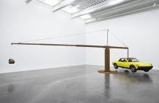 Chris Burden – Porsche with Meteorite, 2013, restored 1974 Porsche 914, 390 pound meteorite, steel structure installation, New Museum, New York City, USA, 2013 Photo: Benoit Pailley, New Museum