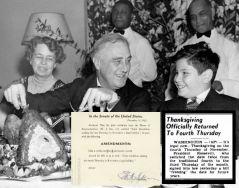 Franklin D. Roosevelt durante il giorno del Ringraziamento che fu osservato negli Stati Uniti come raccomandazione del presidente George Washington e approvato dal Congresso nel 1789
