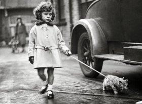 Una bambina che porta il gattino al guinzaglio, 1931