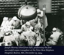 1954, il primo trapianto di rene umano viene eseguito dal Dr. Joseph E. Murray all'ospedale Peter Bent Brigham di Boston, Massachusetts