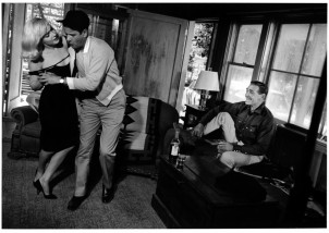USA. Reno, Nevada. 1960. Marilyn Monroe, Eli Wallach, and Clark Gable, rehearsing the dancing scene between Roslyn and Guido.