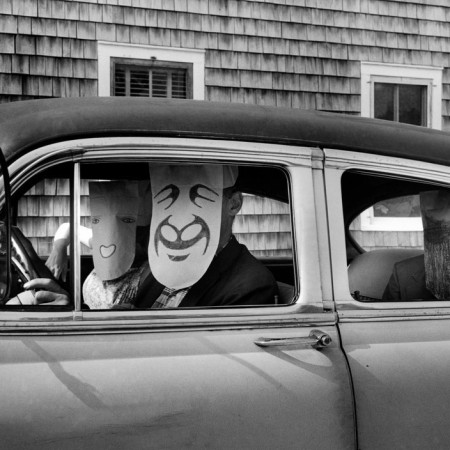 USA. Untitled. (from the Mask Series with Saul Steinberg), 1962. Photograph by Inge Morath © The Inge Morath Foundation/MAGNUM PHOTOS. Mask by Saul Steinberg © The Saul Steinberg Foundation/ARS, NY