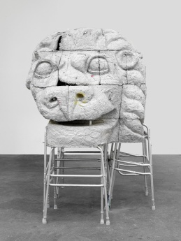 Justin Matherly, Cost of living; mob above, mob below (w.t.n.c.g.l.), reinforced concrete, ambulatory equipment, stainless steel hardware, zip ties, spray paint, water based marker, 2013, 213.7 x 158.5 x 152 cm