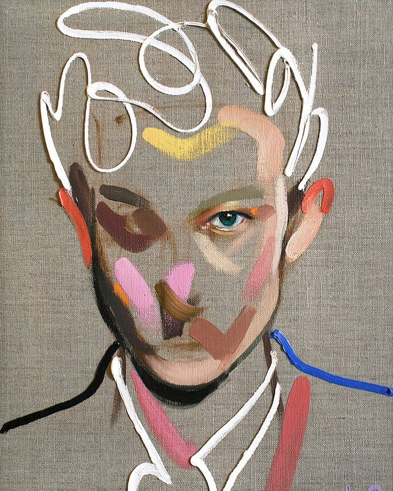 """Homme 117"" by by Loribelle Spirovski (Oil on linen 30.5x40.5cm)"