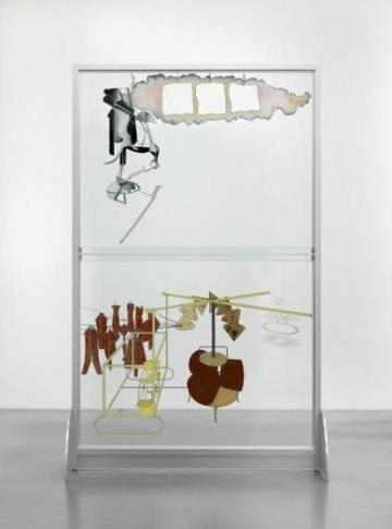 "Marcel Duchamp (reconstruction by Richard Hamilton), ""The Bride Stripped Bare by Her Bachelors, Even (La mariée mise à nu par ses célibataires, même),"" known as ""The Large Glass"" (1915) (reconstructed in 1965–66 and 1985)"