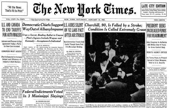 16 gennaio 1965. Sir Winston Churchill viene colpito da un ictus. Le sue condizioni sono molto gravi