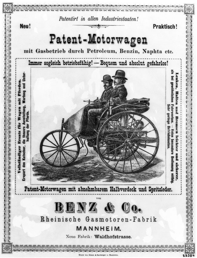 1886 - Karl Benz brevetta la prima automobile a benzina