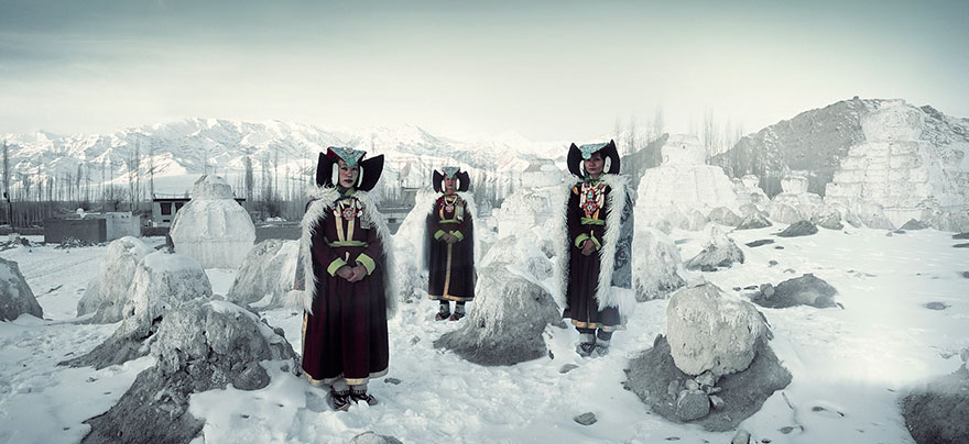 Donne Perak, monastero di Thikse, Ladakh, India