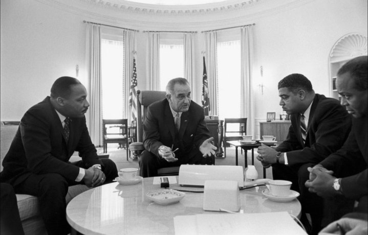 Incontro con i leader della destra civile Martin Luther King Jr., Whitney Young e James Farmer. 18 gennaio 1964