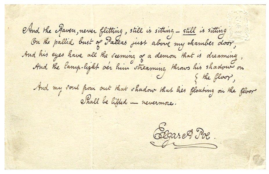 L'ultima strofa manoscritta di The Raven di Edgar Allan Poe. Prima pubblicazione (1845), giornale New York Evening Mirror