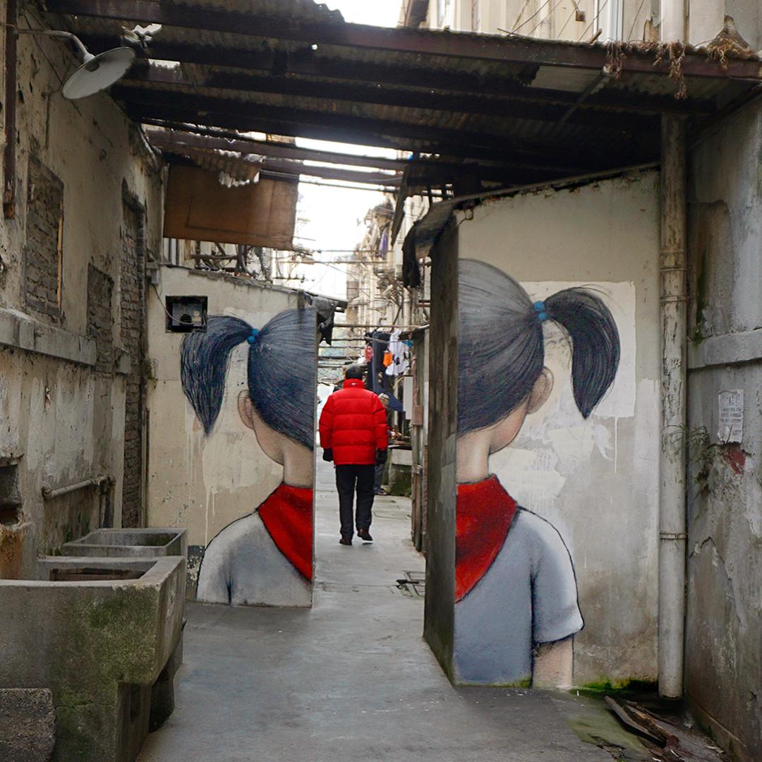 """Red Scarf"" by Seth Globepainter @Shanghai, China"