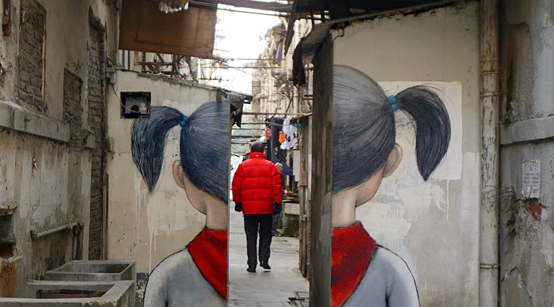 """Red Scarf"" by Seth Globepainter @Shanghai, China"