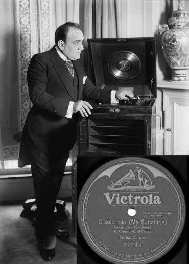 "1916, Enrico Caruso registra ""O Sole Mio"" per la Victor Talking Machine Co"