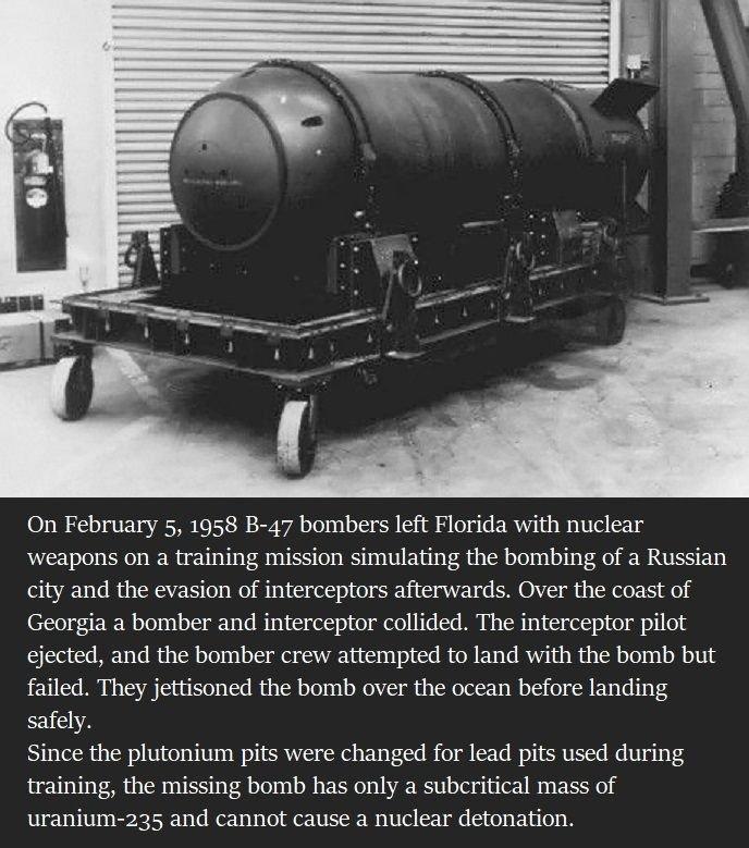 5 febbraio 1958 - Una bomba all'idrogeno nota come la bomba di Tybee viene persa dall'aviazione degli Stati Uniti