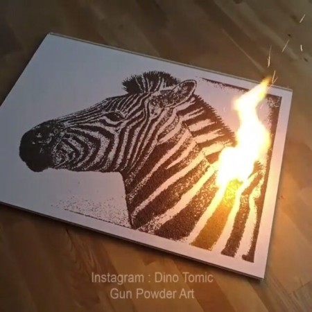 Zebra made with Gun Powder by Dino Tomic