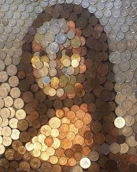 """Coin"" Monalisa portrait by Guy Hepner"
