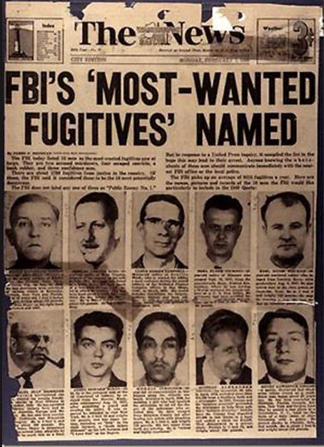 14 marzo 1950, inizia il programma '10 Most Wanted Fugitives' dell'FBI