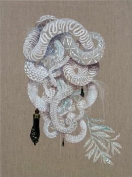 """Firelei Báez - """"Becoming New (A Tignon For Mami Wata)"""" (2016), acrylic on canvas 48 x 34 inches (121.9 x 86.4 cm)"""